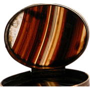 SALE Snuff Box Scottish Banded Agate 19th Century Accessories