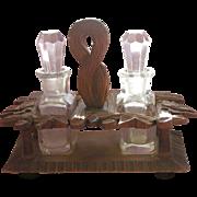 SALE Perfume Bottle Holder Black Forest Hand Carved Wood