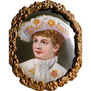 SALE Framed Portrait Hand Painted on Porcelain Antique Young Boy in Frame
