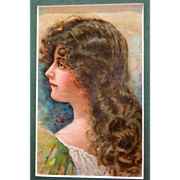SOLD Victorian Lithograph of Nouveau Lady