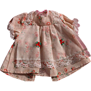 SALE Vintage Doll Dress with Lace and Rosettes