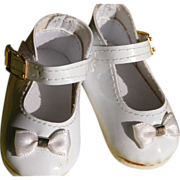 SALE Baby Doll Shoes with Bow and Ankle Strap White Patton Leather