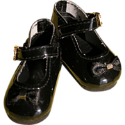 SALE Baby Doll Shoes with Bow and Ankle Strap Black Patten Leather FREE Shipping