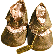 SOLD Doll Shoes in Gold Color Finish and Suede Leather Soles