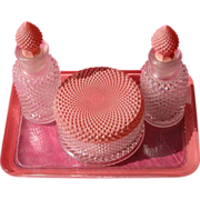 SALE Art Deco Perfume Bottle Powder Bowl and Glass Tray Vanity Set
