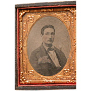 SALE Tin Type Photograph of Gentleman Leather Frame Half