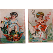 SALE Victorian Trade Cards Blanks Fantasy Two Cards Lithographs