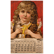 SALE Frances Brundage Calendar from 1888 with Cat and Dog Scott's Emulsion