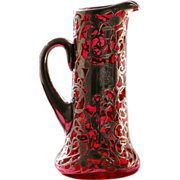 SOLD Sterling Silver Pitcher Red Glass with Overlay of Sterling Silver