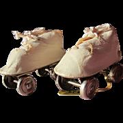 SALE Doll Roller Skates Oil Cloth and Leather Vintage