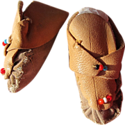 SALE Doll Indian Shoes Moccasins Leather with Beads Vintage Doll Real Leather