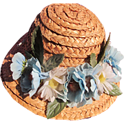 SALE Vintage Straw Hat for Doll with Blue Flowers