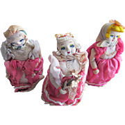 SALE Three Mechanical Dolls Rolls on Wheels Toys Japan