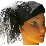 SALE Hat with Plume Black and White with Playboy Bunny Provenance Cocktail Hat