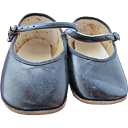 SALE Vintage Baby Doll Shoes Black Leather with Buckles FREE Shipping