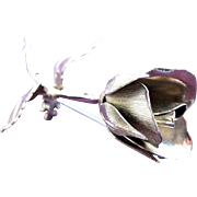SALE Rose Brooch of SilverTone by Giovanni Pristine