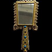 SALE Austrian Hand Mirror Austrian Jeweled Mirror Faux Gems 1920's