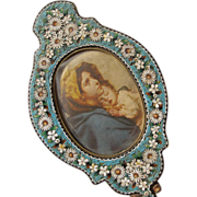 SALE Micro Mosaic Frame Gorgeous Shaped like a Hand Mirror