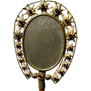 SALE Antique Hand Mirror with Glass Cabochons Beveled Nineteenth Century