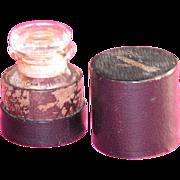 SALE Vinaigrette  in Leather Box Glass Bottle Held Smelling Salts