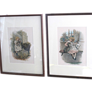 SOLD Two Framed Lithographs of Little Girls and Kittens Precious