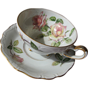 SALE Porcelain Tea Cup Saucer with Roses on Three Feet