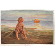 SALE Artist Signed Post Card with Baby on Beach at Sunset Artist W Fialkowska FREE Shipping