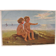 SALE Artist Signed Post Card with Beach Babies at Sunset W Fialkowska FREE Shipping