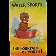 SOLD Post Card Black Americana Water Sports Unused