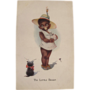 SOLD Post Card Black Americana with Baby and Kitten Artist Signed