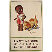 SOLD Artist Signed Post Card Black American Child with Dog