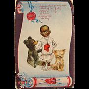 SOLD Black Americana Post Card Artist Signed R.F. Outcault for Valentine's Dog Teddy Bear
