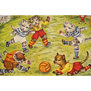SALE Post Card Artist Signed EK Cats Playing Soccer