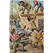 SOLD Post Card Artist Signed Mainzer Printed in Belgium Cats as Construction Workers