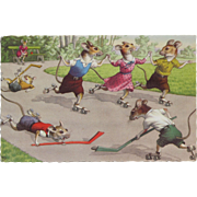 SALE Post Card Mainzer Artist Signed with Dressed Mice Playing Soccer