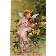 SOLD New Year's Post Card with Angel Playing Violin