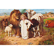 SOLD Artist Signed Post Card Animals with Little Jesus