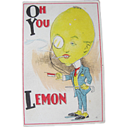 SALE Post Card Comical Dressed Fruit Lemon Unused