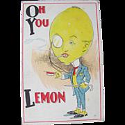 SALE Post Card Comical Dressed Fruit Lemon Unused