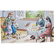 SOLD Post Card Dressed Cats and Animals Alfred Mainzer
