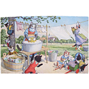 SOLD Artist Signed Postcard Alfred Mainzer with Dressed Cats Hanging Clothes