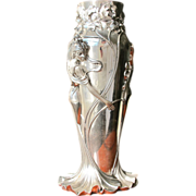 SOLD Silver Vase Vintage Tall and Stunning Art Nouveau Style Italy in Box