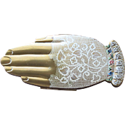 SALE Volupte Compact Brushed Goldtone Hand Shaped Compact with Lace Glove