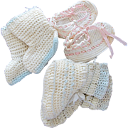 SALE Baby Doll Shoes Crocheted Hand Made Vintage Three Pairs