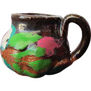SALE Dollhouse Terracotta Vintage Pitcher Pot Hand Painted