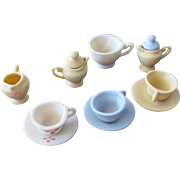SALE Doll Dishes in Pottery Vintage Dishes for Dollhouse