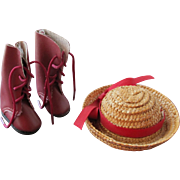 SALE Doll Shoes and Straw Hat for Doll