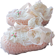 SALE Doll Shoes Crocheted for Baby Small Hand Made FREE Shipping