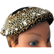 SALE Cloche Hat Beaded and Jeweled Made in France Pristine