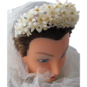 SALE Bridal Tiara Head Piece of Wax Flowers Comb Veil